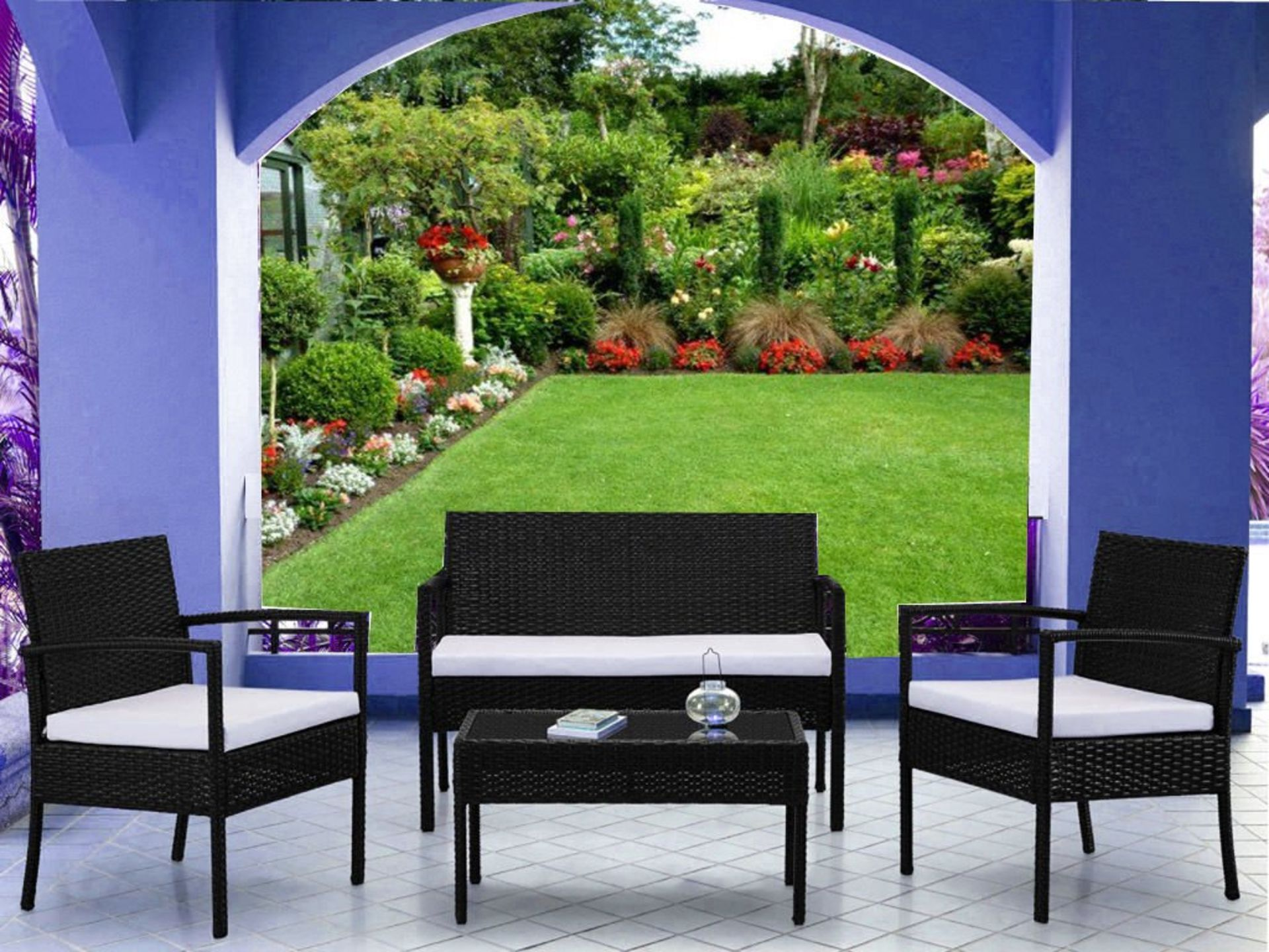Lot 31836 - V Brand New Four Piece Palermo Ratan Patio Set