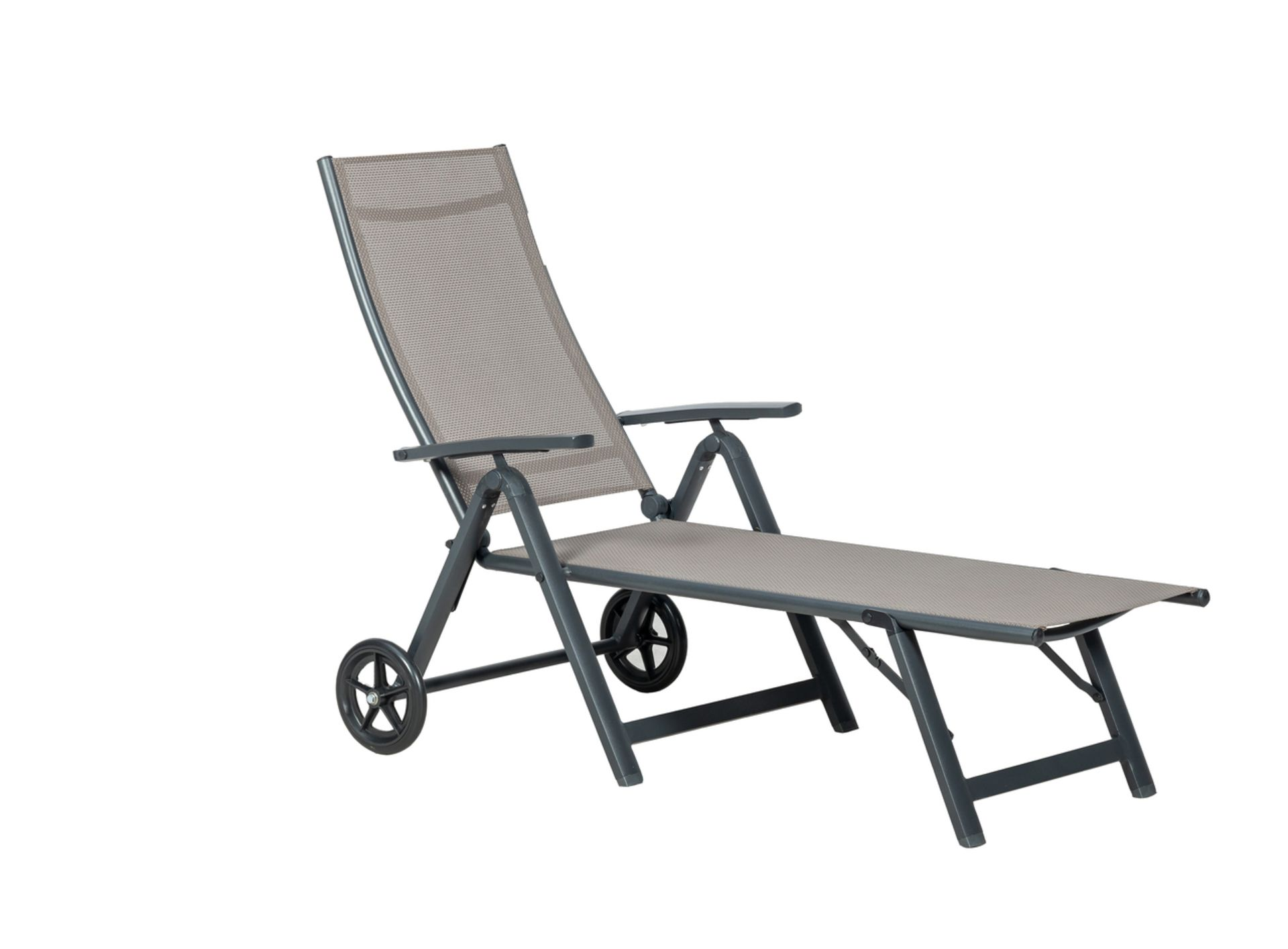 Lot 32158 - V Brand New Sorrento Wheeled Sunlounger - With High Quality 4x4 Textylene - ISP £105 (Dunelm)