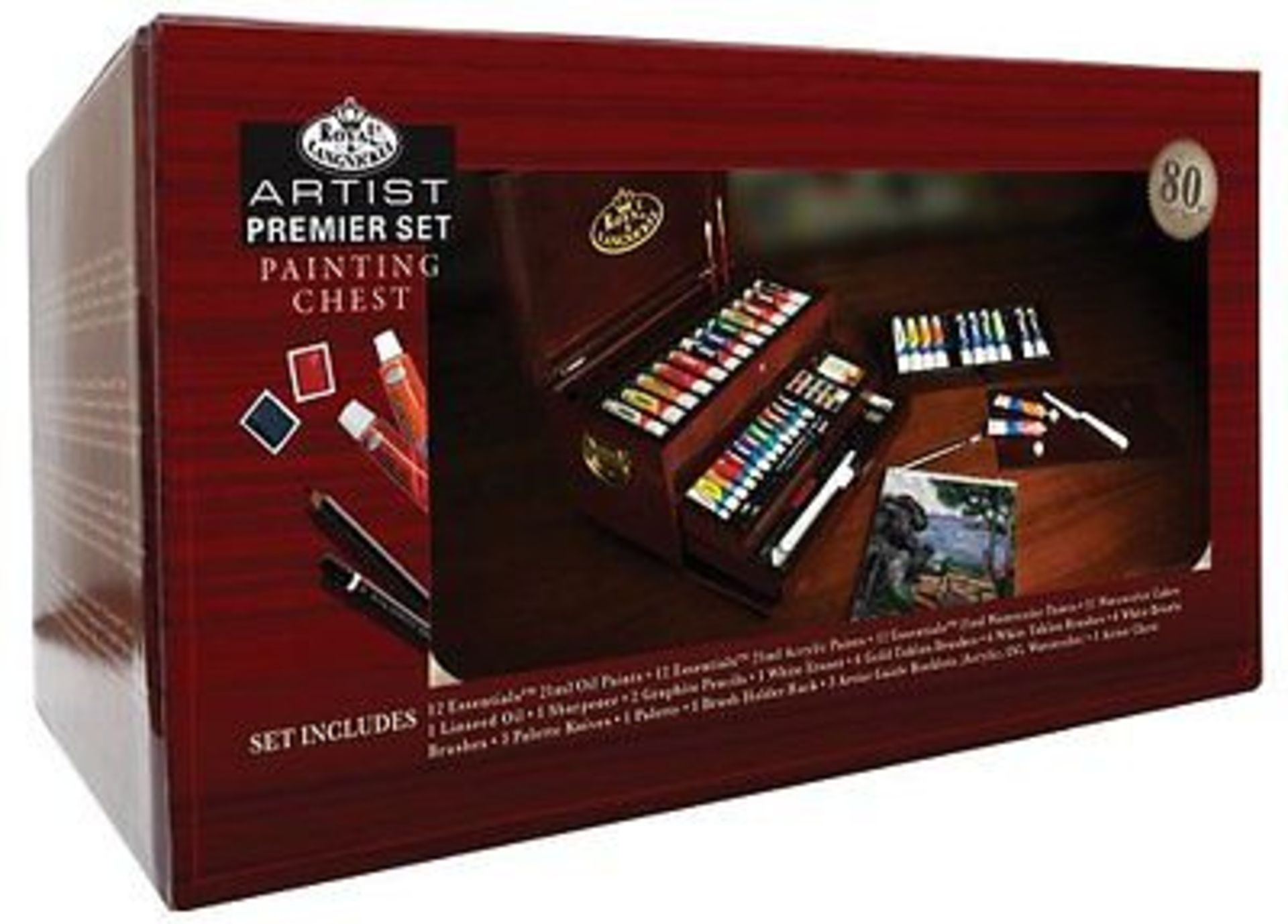 Lot 32165 - V Brand New Premier Artist Set In Chest Inc 12xOils 12 Acrylic 12 Watercolour Paints-12