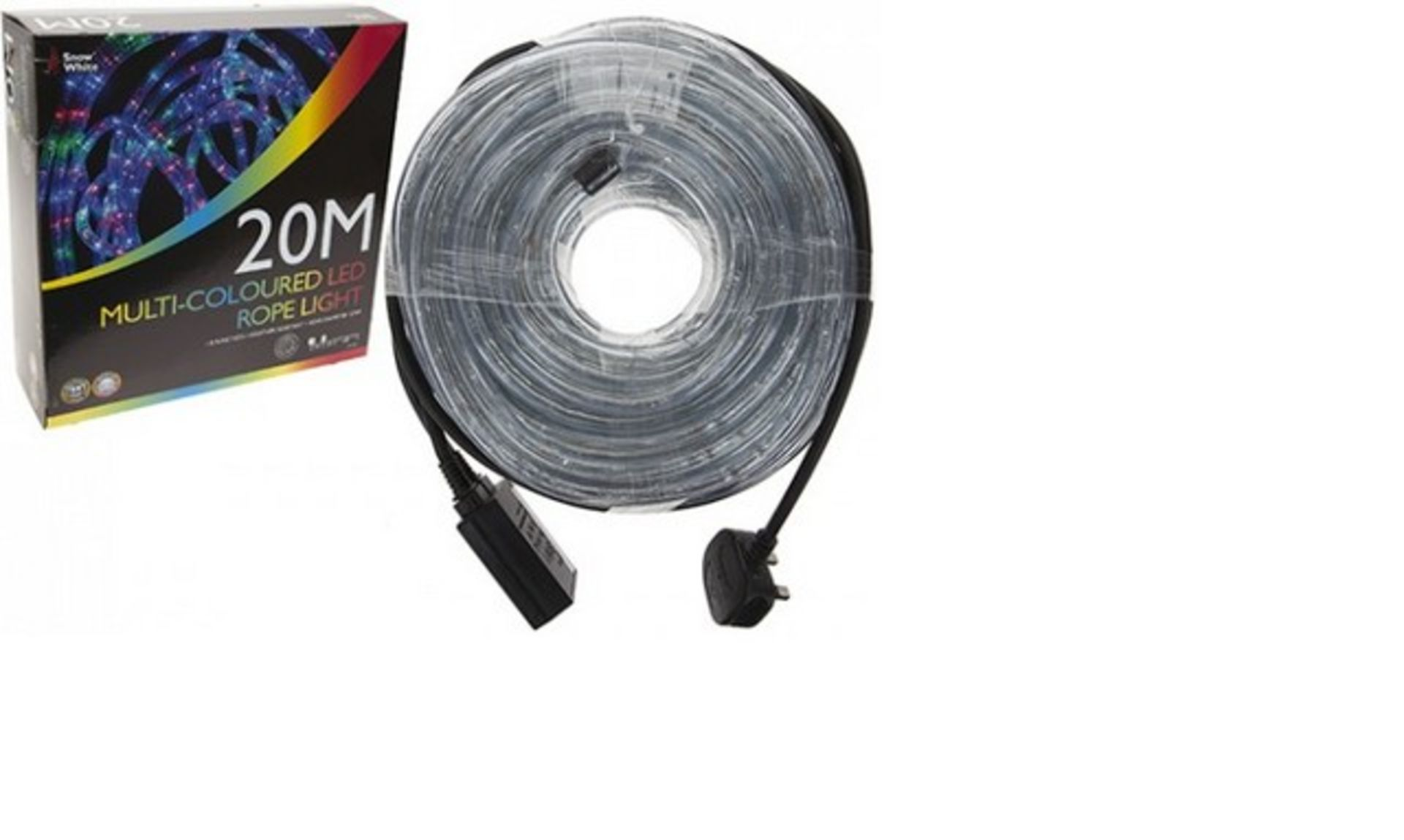 Lot 50105 - V Brand New 20m Multi-Coloured Eight Function Weather Resistant Rope Light