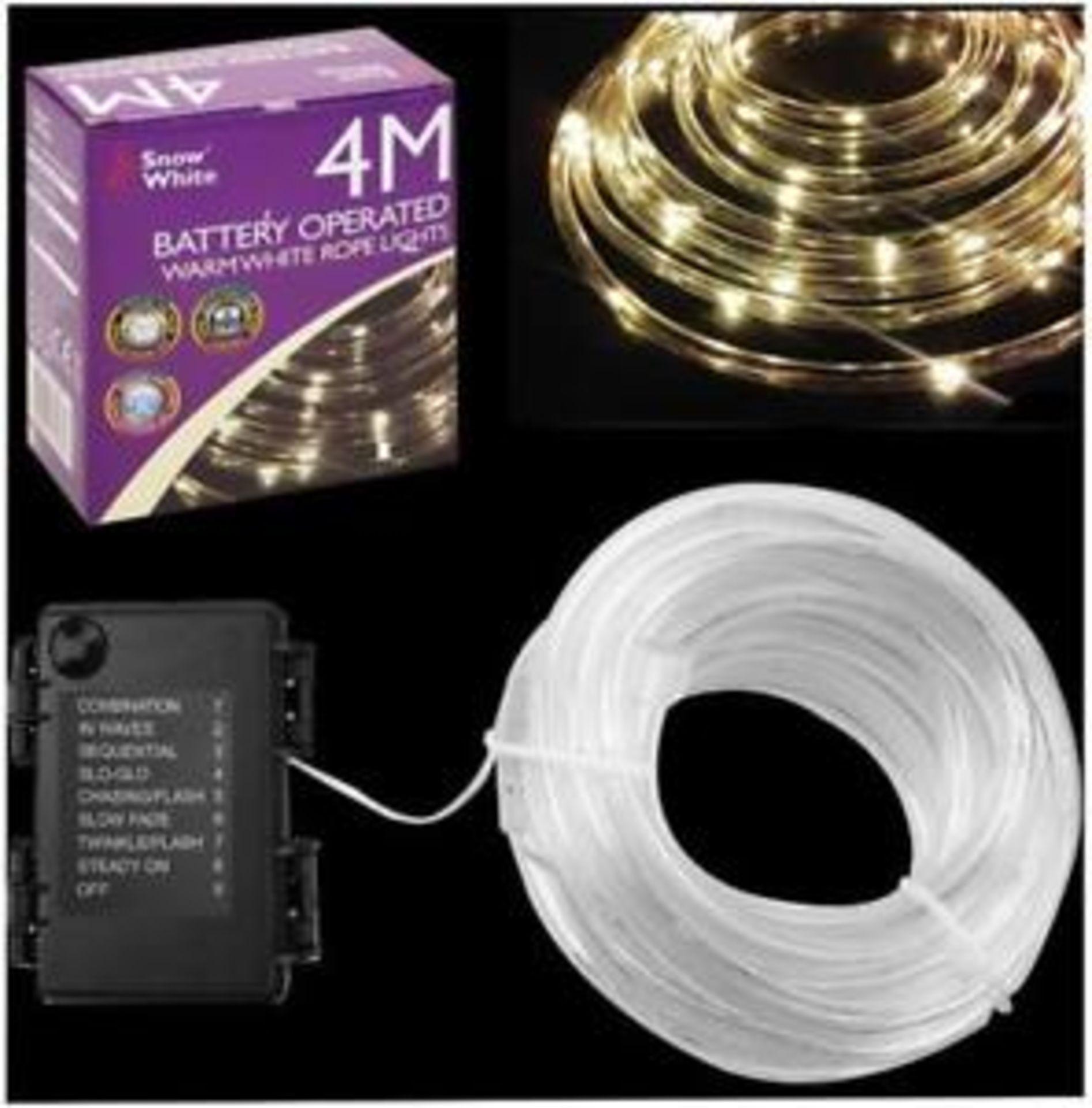 Lot 52597 - V Brand New 4M 40 LED Multi Function Rope Light - Warm White