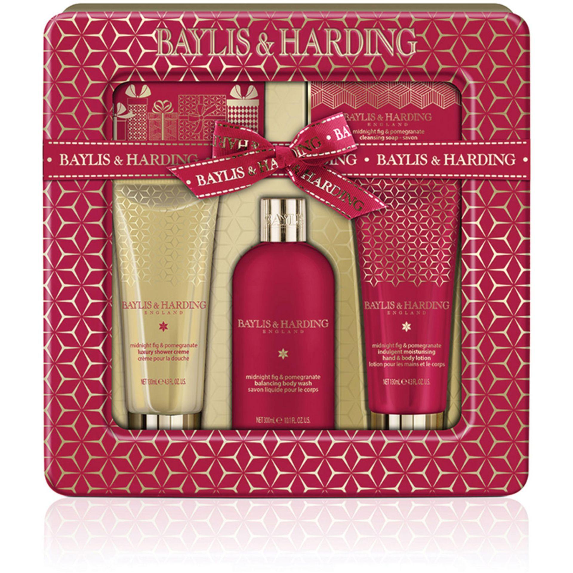 Lot 51522 - V Brand New Baylis & Harding Midnight Fig & Pomegranite Ultimate Bathing Tin Gift Set Inc 300ml Body