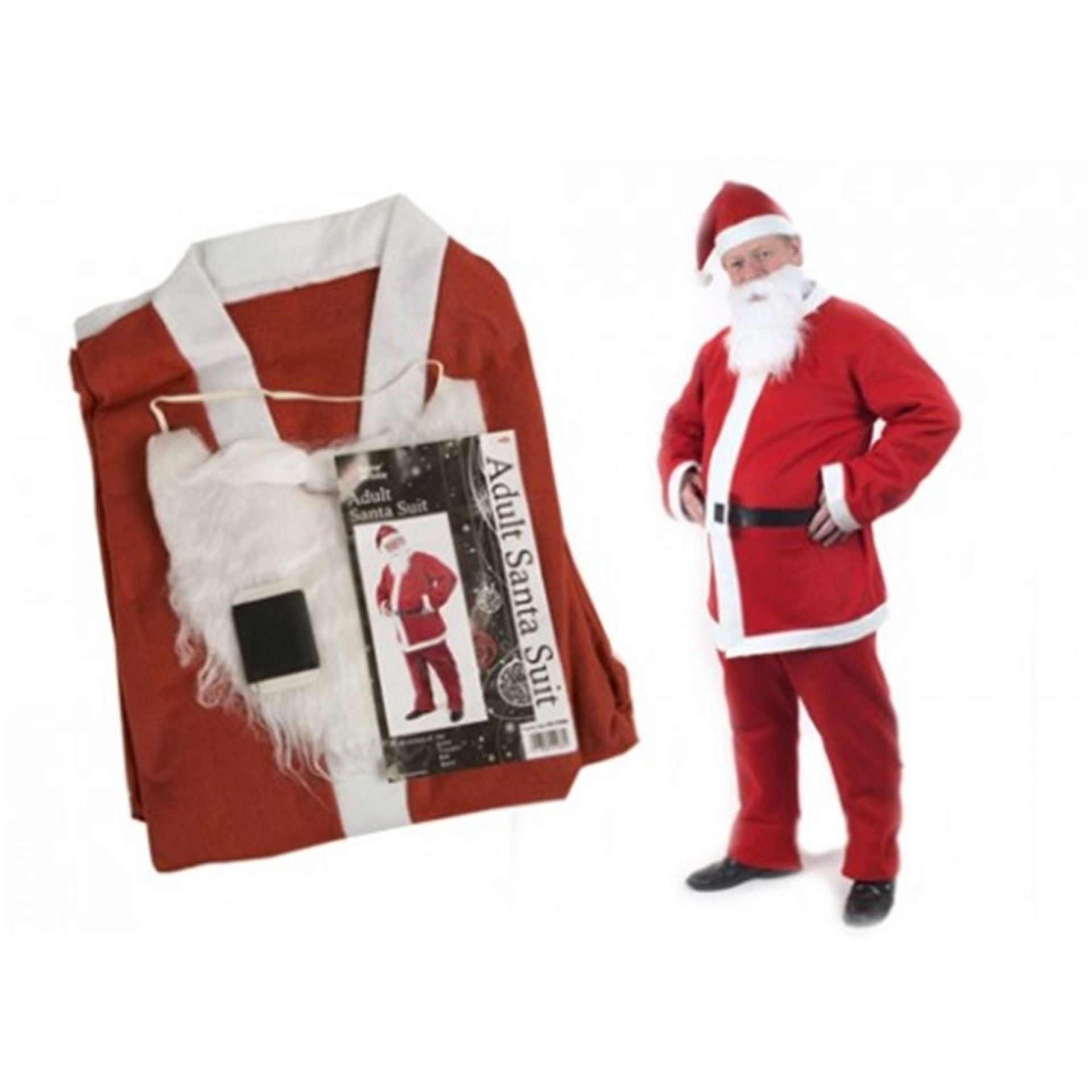 Lot 52569 - V Brand New 5pc Adult Santa Suit With Hat - Jacket - Trousers - Belt and Beard