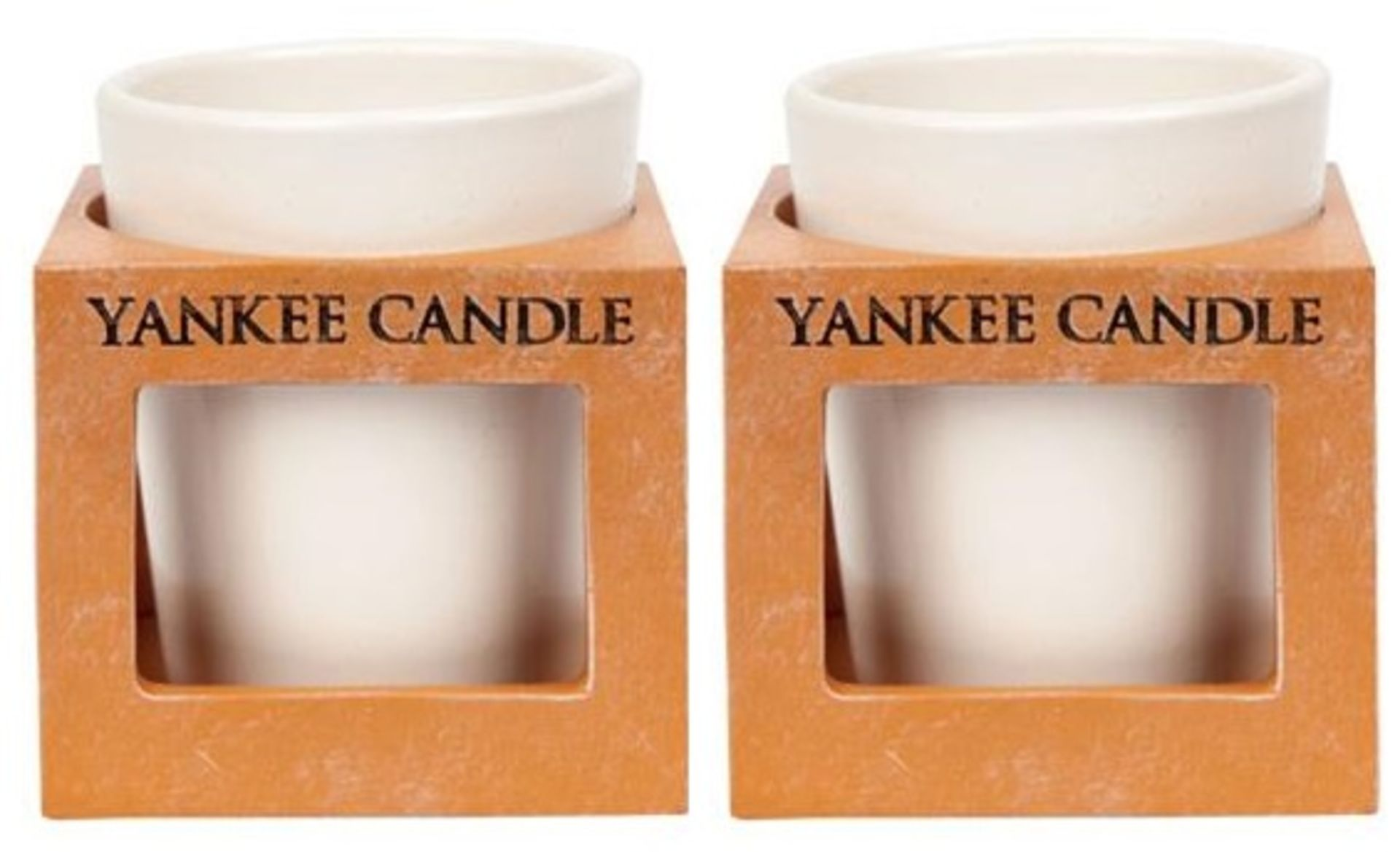Lot 50108 - V Brand New Set Of 2 Rustic-Modern Terracotta Votive Yankee Candle Holders eBay £20.98