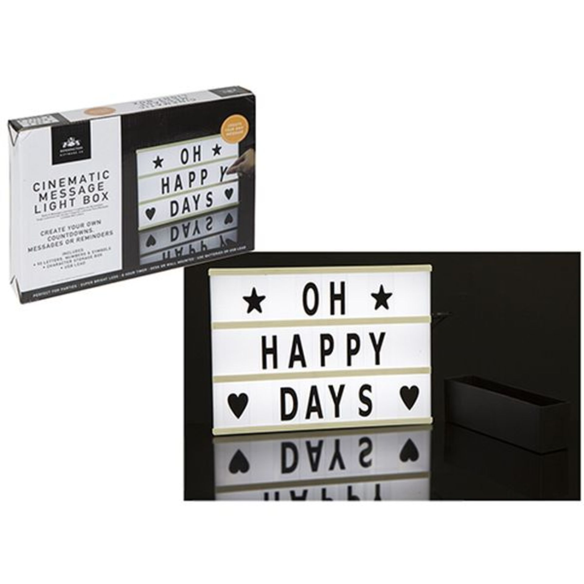 Lot 50083 - V Brand New Electric Vintage Style Cinematic Message Box With Back Light - Create Your Own