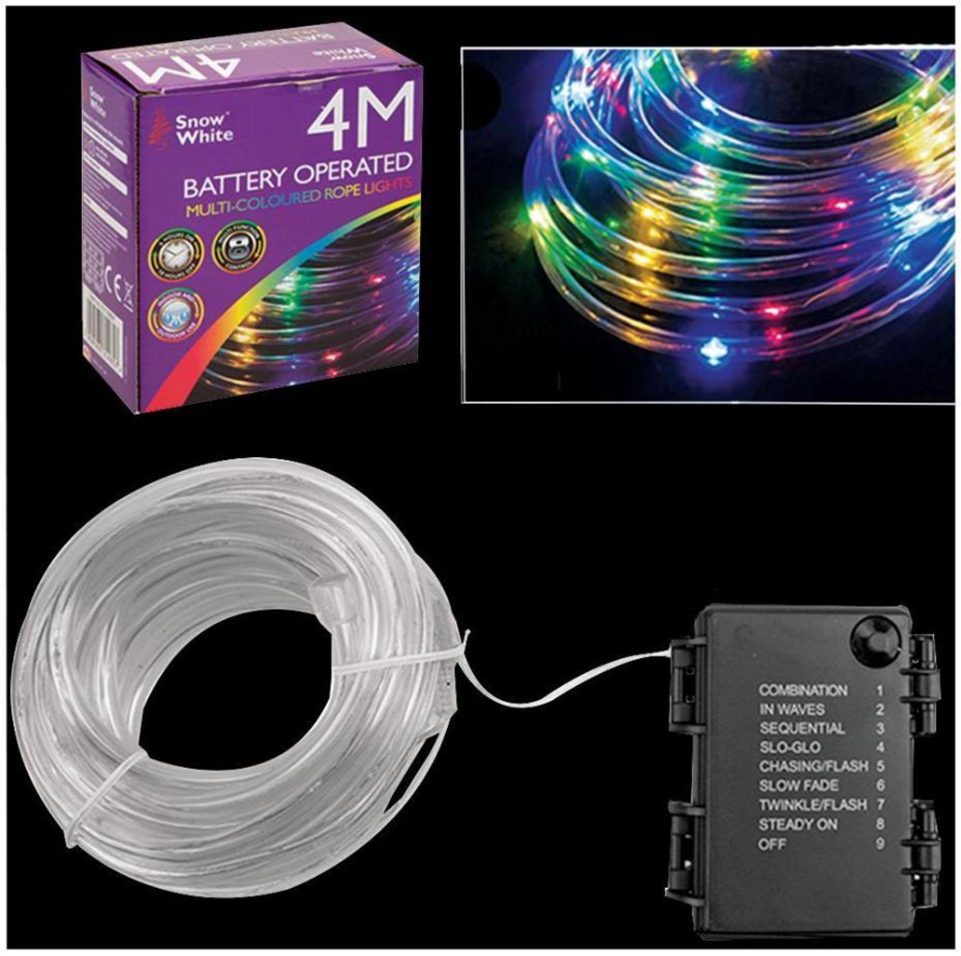 Lot 52586 - V Brand New 4M 40 LED Multi Function Rope Light - Multi coloured