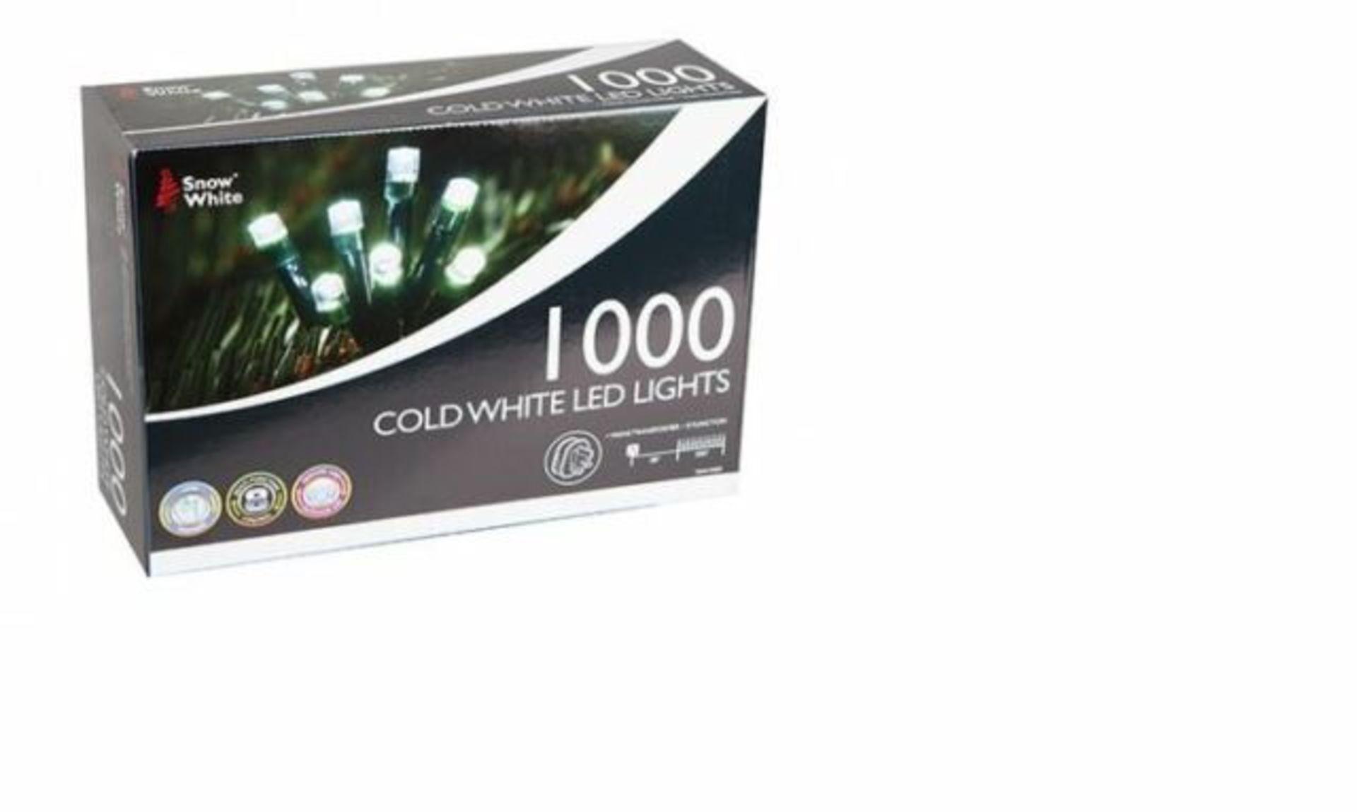 Lot 18027 - V Brand New 1000 Cold White LED Multi Function Christmas Lights