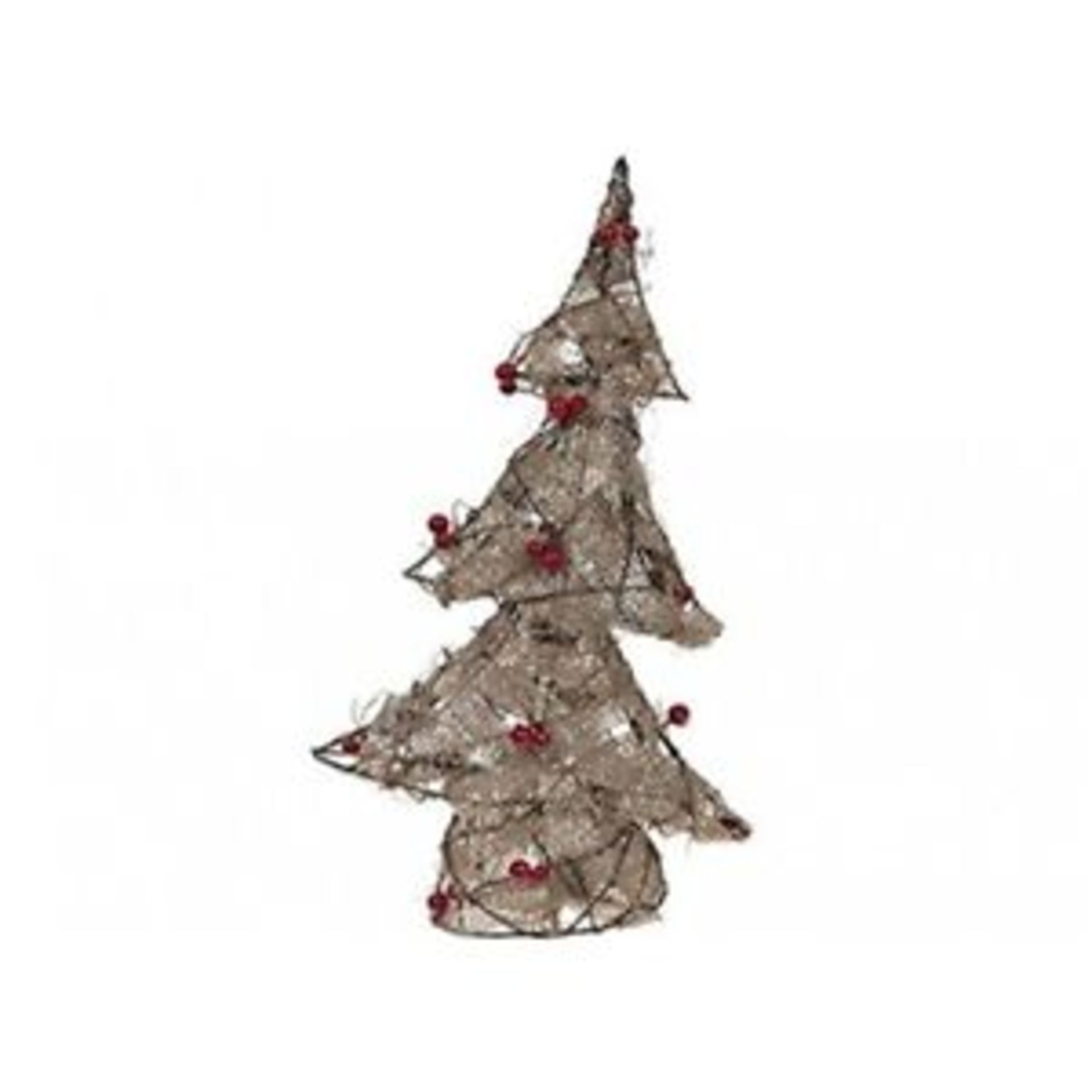 Lot 18080 - V Brand New 45cm Pre Lit Jute Wrap Tree With Berries - Battery Operated