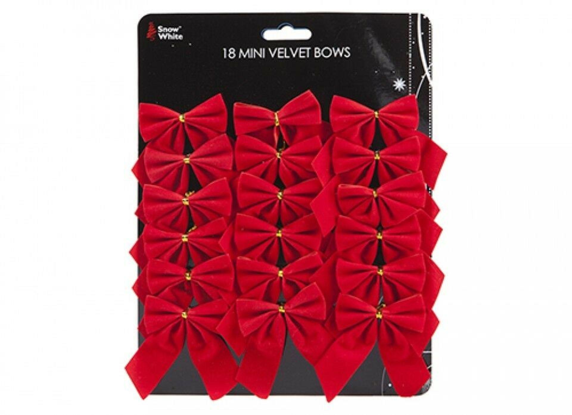 Lot 18146 - V Brand New Three Sets of 18 Mini Red Velvet Bow On Tie