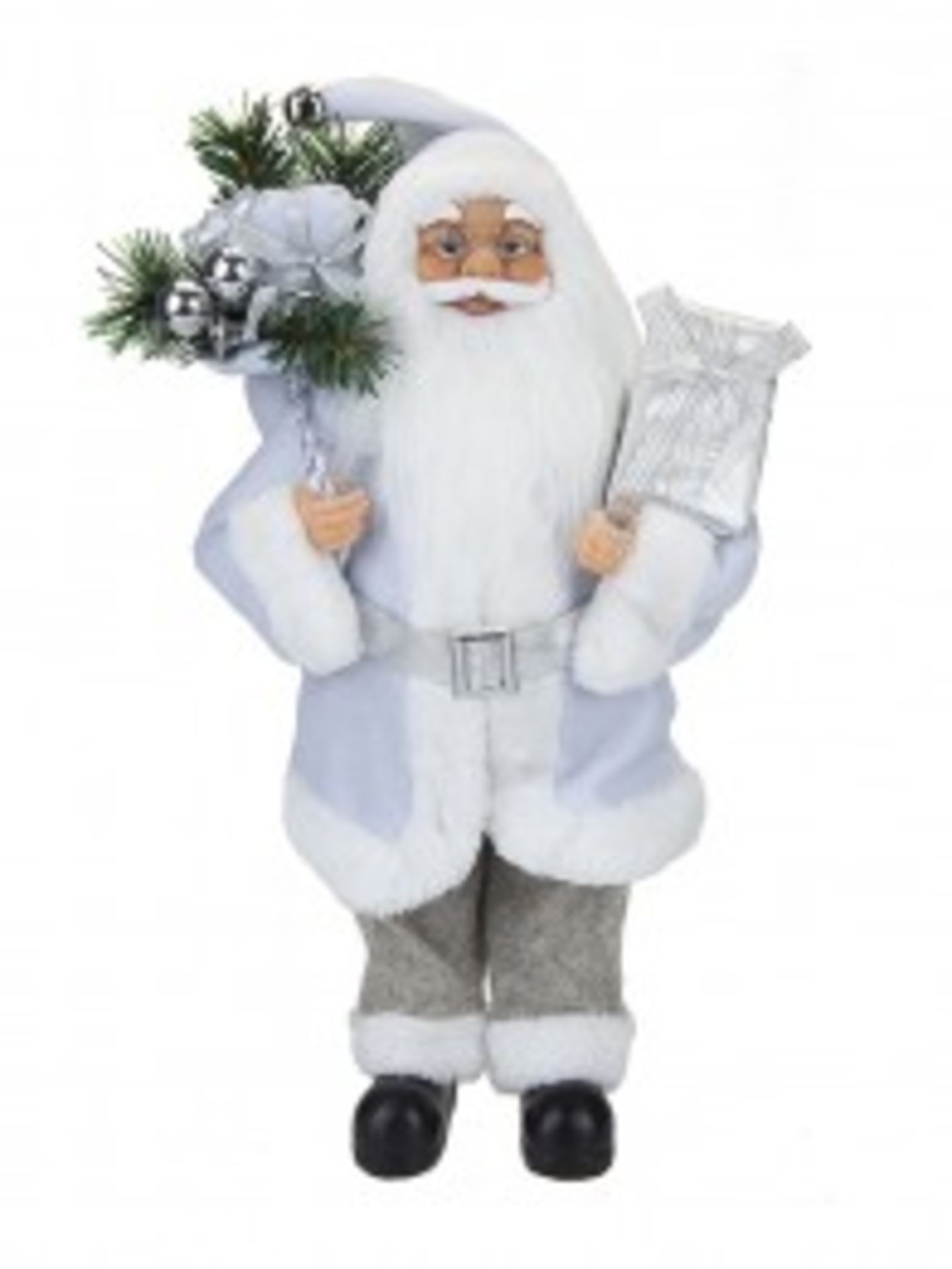 Lot 18217 - V Brand New 60cm Luxury Standing Grey Suit Santa Decoration With Hang Tag