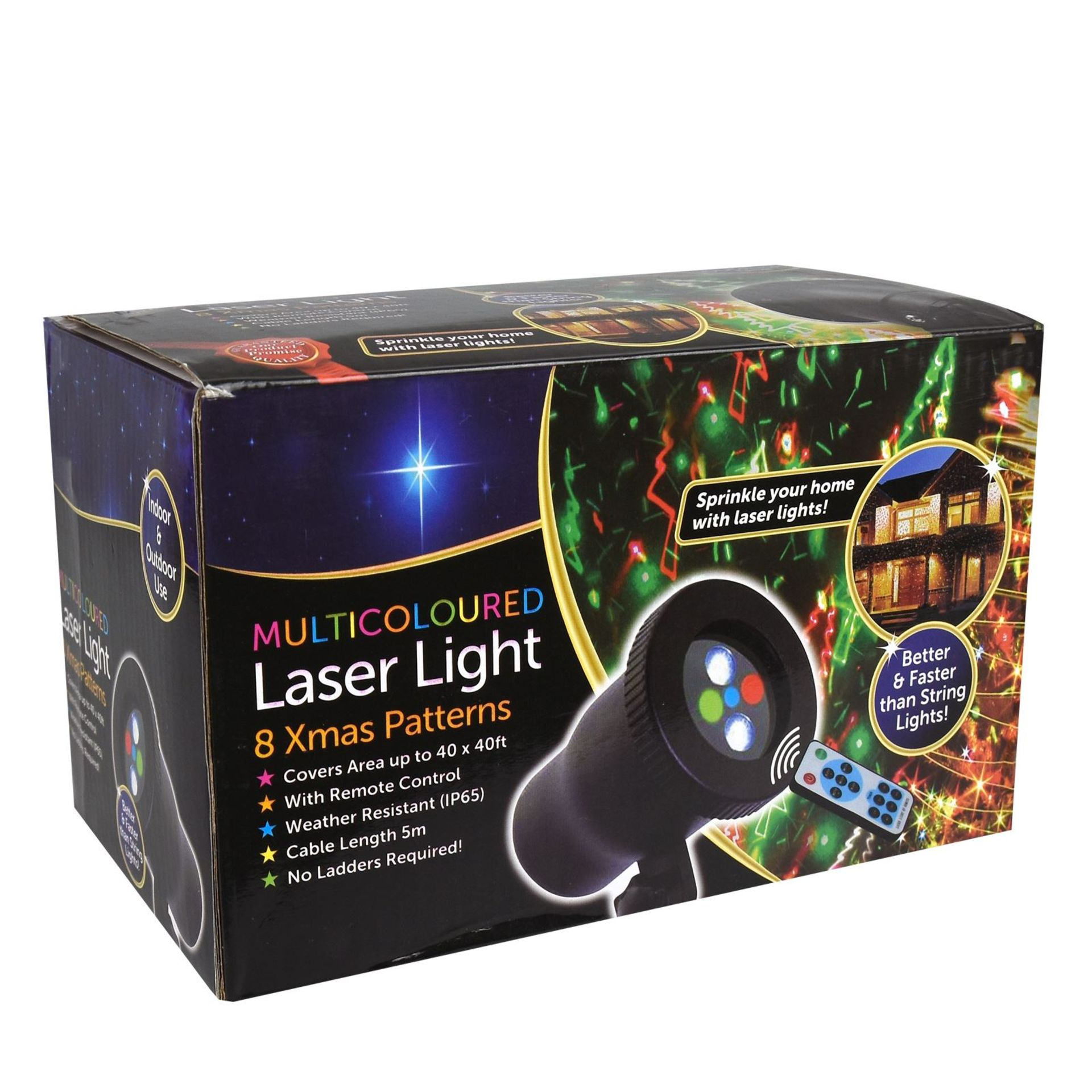 Lot 18020 - V Brand New Multicoloured 8 Christmas Pattern Laser Light - Covers Area Up To 40 x 40ft - Weather