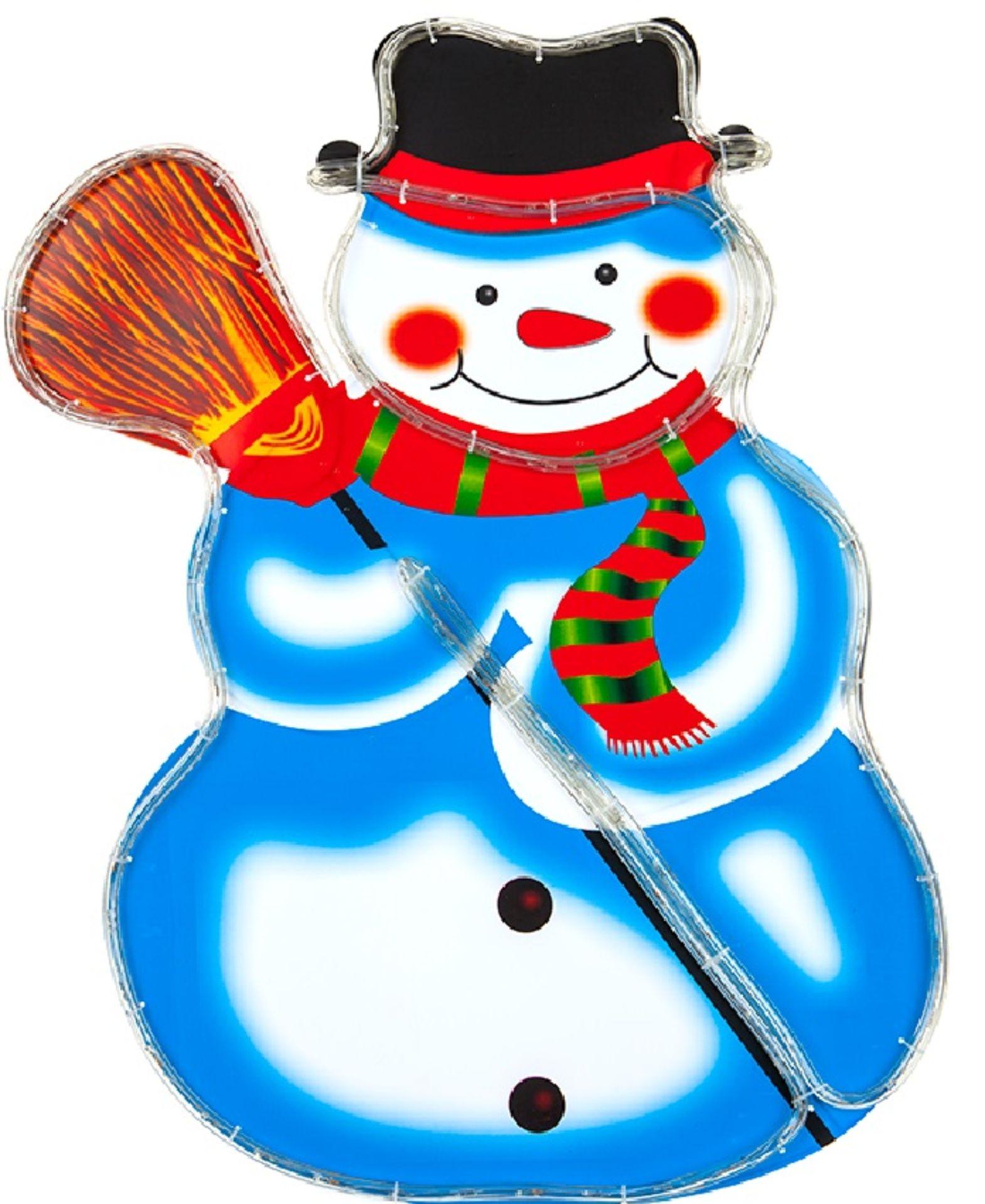 Lot 18128 - V Brand New 75CM Multi Coloured Rope Light Standing Snowman
