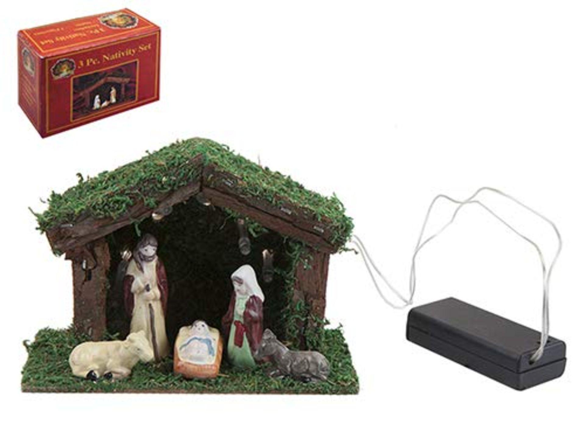 Lot 18102 - V Brand New Five Piece LED Nativity Play 14 x 16 x 10cm