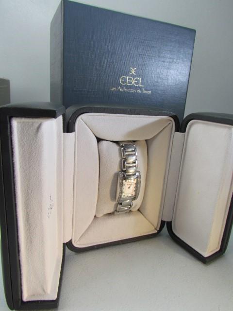 Lot 32 - Ebel Brasilia watch on steel strap with Diamond Bezel motif. Pearl face and Diamond baton marks.