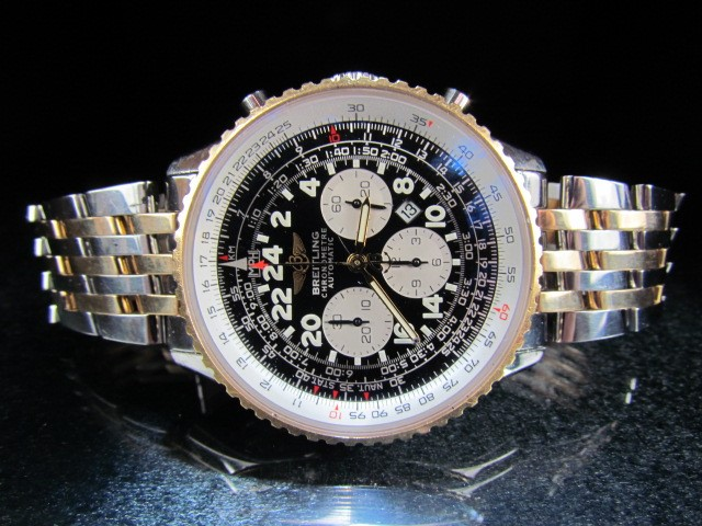 Lot 31 - Breitling Navitimer Cosmonaute Chronograph with two tone 18ct Gold & Stainless steel Gents Automatic