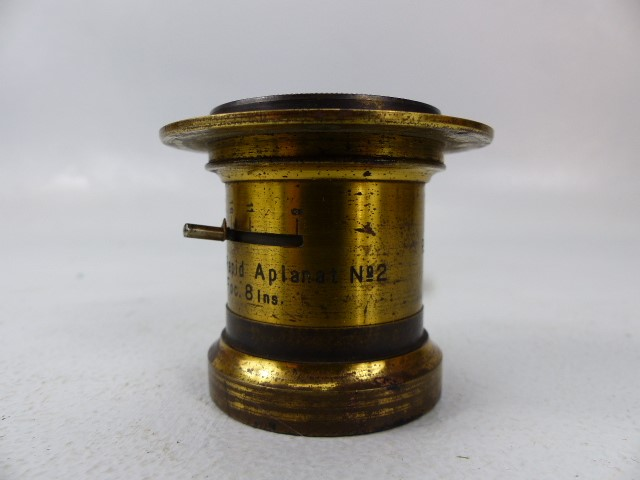 Lot 47 - Brass Photographic Lens Busch's Rapid Aplanat N.2 Foc. 8Ins