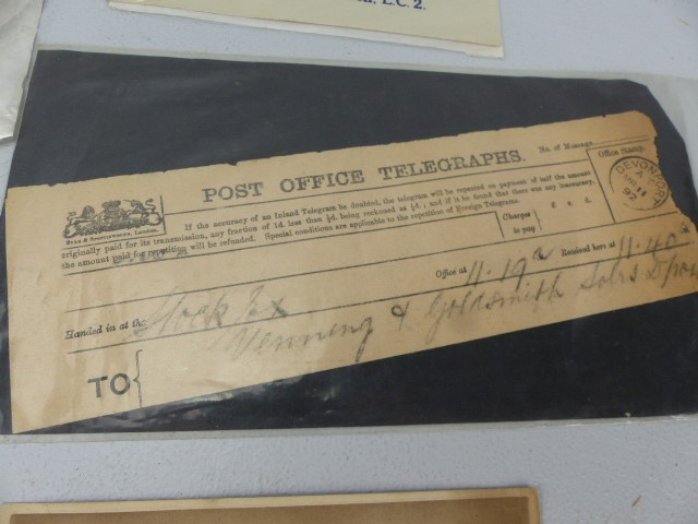 Lot 43 - Selection of War Ephemera to inlclude telegrams, Celluloid card, and other pieces