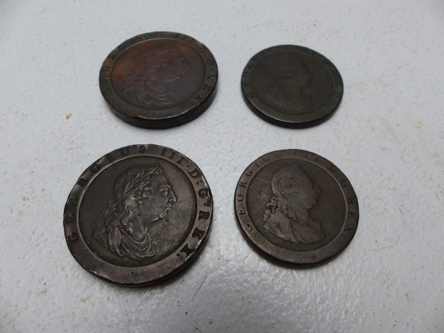 Lot 41 - Two cartwheel pennies dated 1797 and two others