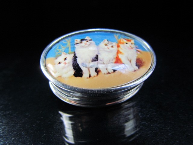 Lot 19 - Silver and Enamel set pill box with pictorial images of cats