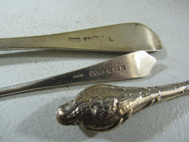 Lot 17 - Georgian hallmarked silver fork, Small silver dessert spoon and a pin hook.