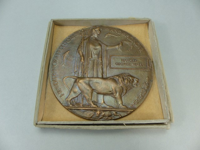 Lot 22 - WWI Death Plaque for Harold George Wall 1914 - 1918