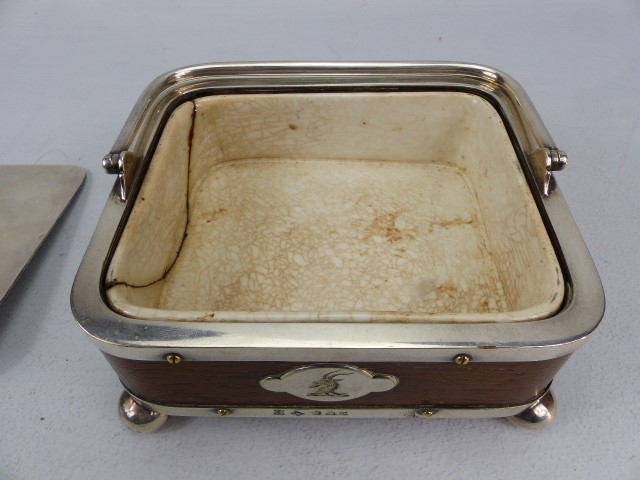 Lot 6 - Wooden & Silver coloured metal caviar dish by T Harwood & Son (1865 - 1892) with ceramic lining (A/