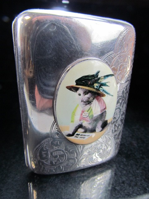 Lot 10 - Silver case with enamel image of a suffragette cat