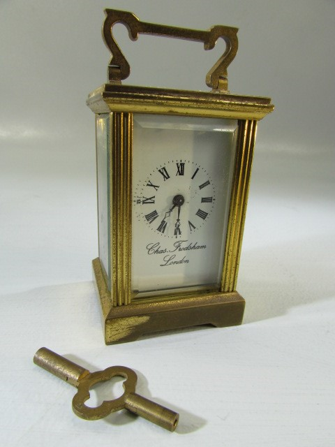 Lot 32 - Miniature carriage clock signed to face Chas Frodsham of London with key (A/F)