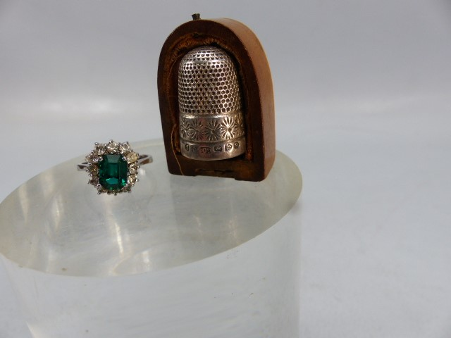 Lot 43 - Silver thimble (hallmarked Chester 1899) and a fancy ladies ring