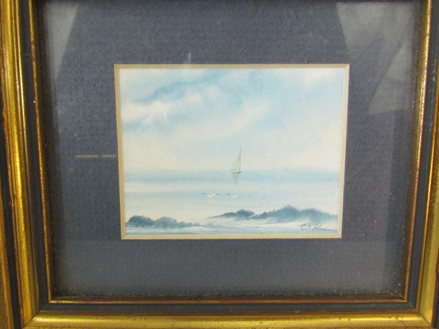 Lot 20 - Pair of miniature seascapes with gilt frames and signed C K from the Newton Gallery
