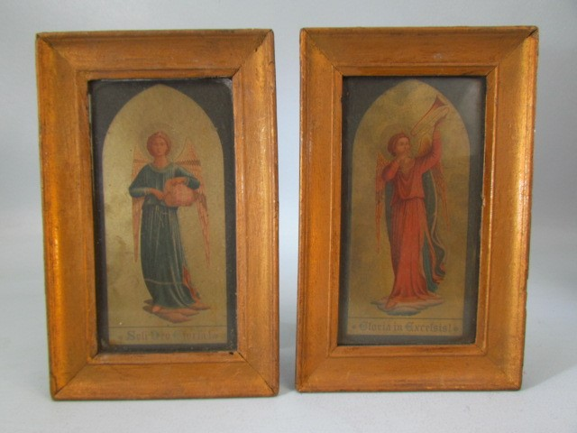 Lot 35 - TWO EARLY 20TH CENTURY ECCLESIASTICAL PRINTS a pair of angels playing musical instruments 'Gloria in