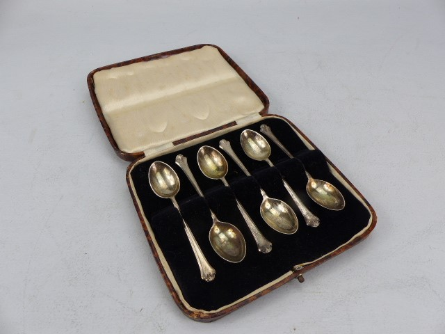 Lot 2 - Set of six cased silver Sheffield hallmarked teaspoons, total weight approx. 65g