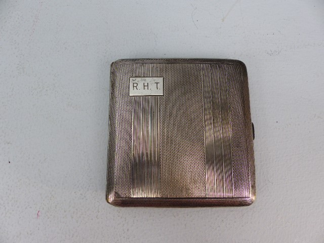Lot 7 - Silver Birmingham hallmarked cigarette case by W.T.T & Co (approx. 98g) initialled RHT