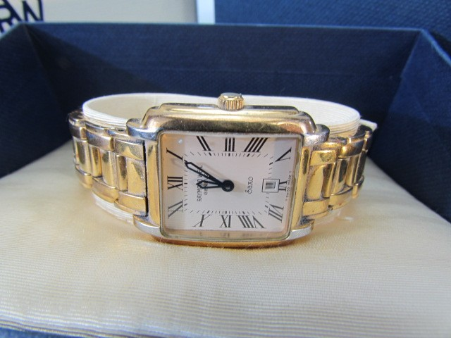 Lot 21 - GENTLEMAN'S RAYMOND WEIL SAXO GOLD PLATED QUARTZ WRIST WATCH with original receipt paperwork,