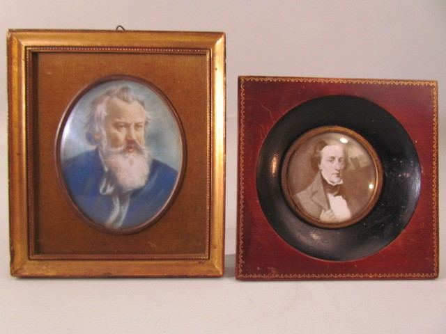 Lot 24 - Pair of framed miniatures (black and white is a print, the other a watercolour)