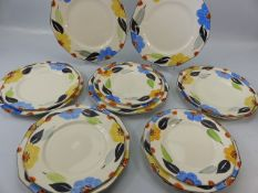 Collection of Myott & Sons Hand painted plates (pattern 8003) fourteen in total