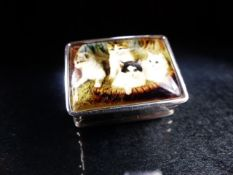 Silver pill box with enamel lid depicting cats