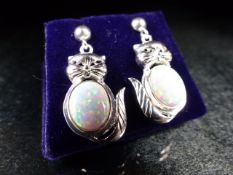 Pair of silver and CZ earrings in the form of cats