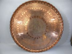 Large Islamic/ Eastern copper plated circular Tray or table top (Diam approx 71cm)