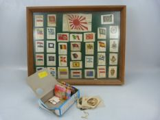 Collection of military silks and a framed display of silks