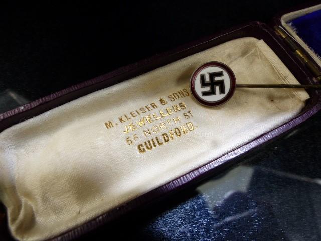 Lot 34 - Nazi enamel Tie pin original box marked M. Kleiser & Sons