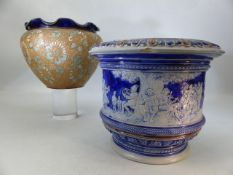 Two ceramic planters, one Royal Doulton marked with the numbers 2547 and 5593