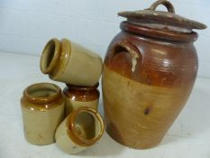 Collection of stoneware to include one large and four small pots