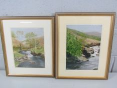 S Hannabus - pair of portrait pastels, framed and glazed, depicting a seaside scene