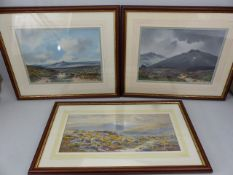 Three gouaches of Exmoor scenes, two signed, one A. Newman