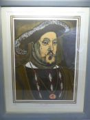 GRAHAM CLARKE (b.1941) Henry VIII, limited edition print, from the original woodcut artwork,