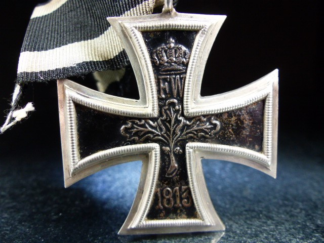 "Lot 35 - Nazi Cross Medal on Black ribbon marked 1813 and 1914 with a central ""W"""