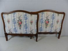 Pair of oak framed single bedheads with floral upholstery