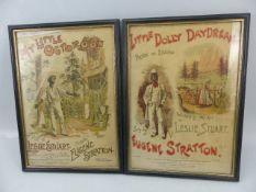 Pair of framed prints of the poster for Leslie Stuart's MY LITTLE OCTOROON & LITTLE DOLLY
