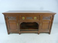 Edwardian mahogany sideboard with zinc-lined drawer circa 1905 with makers metal plaque to rear W.